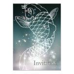 modern romantic blue glowing Zodiac Pisces party 13 Cm X 18 Cm Invitation Card