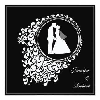 """Modern Romantic Couple Silhouette Invitation 5.25"""" Square Invitation Card"""