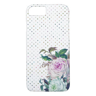 Modern Romantic Floral and Polka Dot iPhone Case