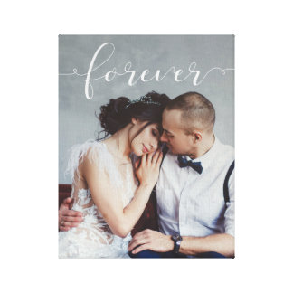 Modern Romantic | Forever Script with Photo Canvas Print