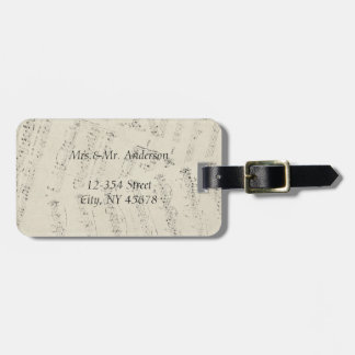 Modern Romantic Music notes Music Wedding favor Luggage Tag