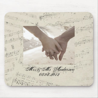 Modern Romantic Music notes Music Wedding Mouse Pad