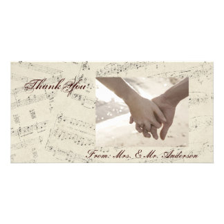 Modern Romantic Music notes Music Wedding Personalized Photo Card