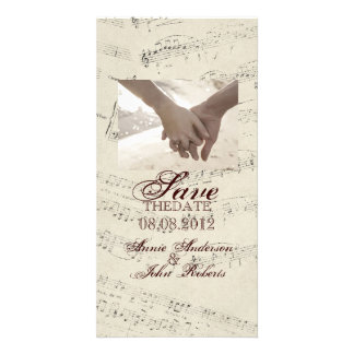 Modern Romantic Music notes Music Wedding Photo Greeting Card