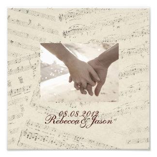 Modern Romantic Music notes Music Wedding Photo Print