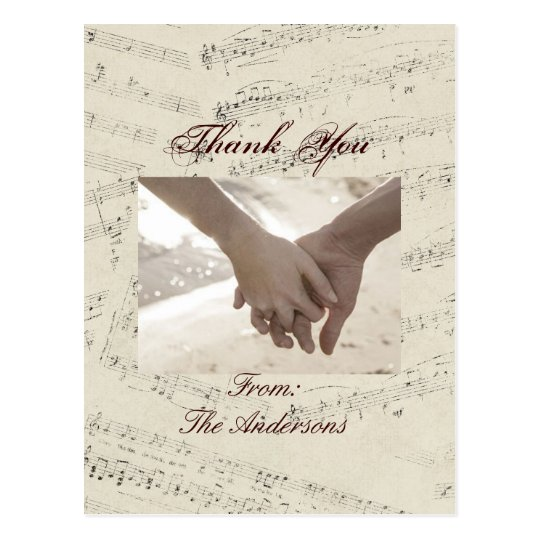 Modern Romantic Music notes Wedding thank you Postcard