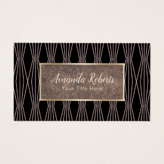 Modern Rose Gold Abstract Diamond Pattern Business Card