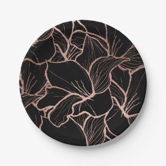 Modern rose gold abstract floral on black 7 inch paper plate
