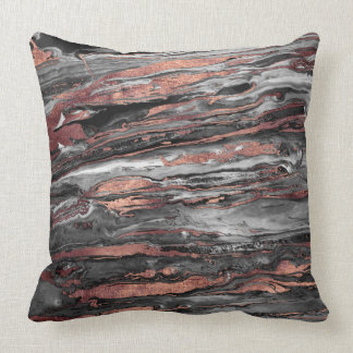 Modern rose gold abstract marbleized paint cushion