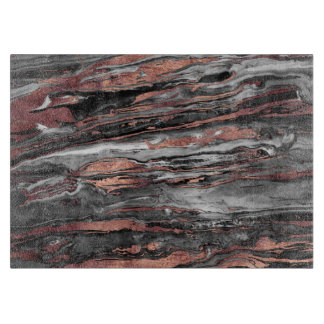 Modern rose gold abstract marbleized paint cutting board