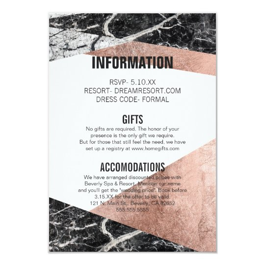 Modern Rose Gold and Marble Wedding Information Card