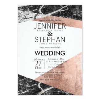 Modern Rose Gold and Marble Wedding Invitations