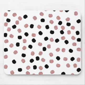 Modern rose gold black abstract brush polka dots mouse mat