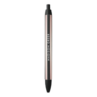 Modern Rose Gold Black Striped Personalized Name Black Ink Pen