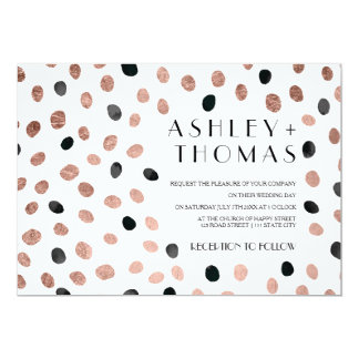 Modern rose gold black watercolor dots wedding 13 cm x 18 cm invitation card