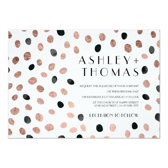 Modern rose gold black watercolor dots wedding card