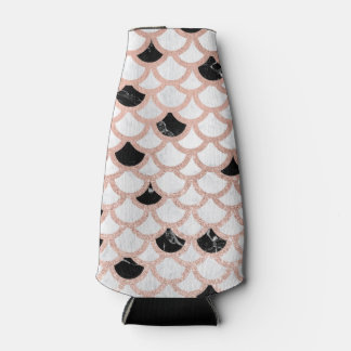 Modern rose gold black white marble scallop bottle cooler