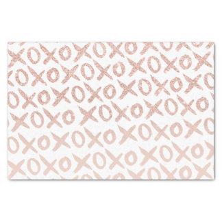 "Modern rose gold blush pink love xoxo typography 10"" x 15"" tissue paper"