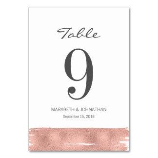Modern Rose Gold Brush Wedding Table Number Card