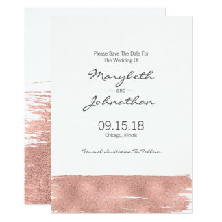 Modern Rose Gold Brushstroke Save The Date Card