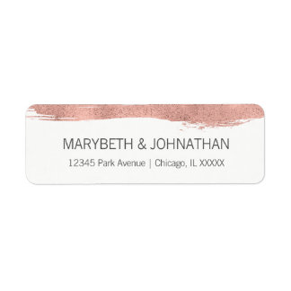 Modern Rose Gold Brushstroke Wedding Address Label