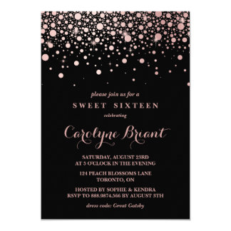 Modern Rose Gold Confetti Black Sweet Sixteen 13 Cm X 18 Cm Invitation Card