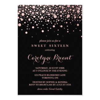 Modern Rose Gold Confetti Black Sweet Sixteen 13 Cm X 18 Cm Invitation Card