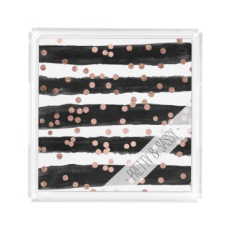 Modern rose gold confetti black watercolor stripes acrylic tray