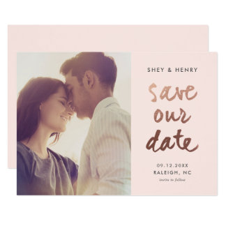 Modern rose gold faux foil photo save the date card