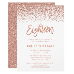 18th birthday invitations announcements zazzle uk modern rose gold faux glitter 18th birthday card filmwisefo Choice Image