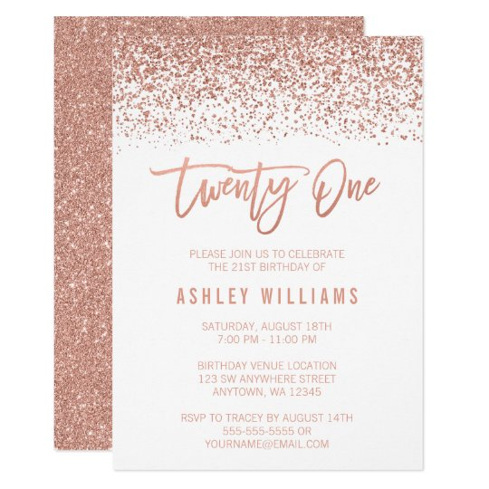 Modern Rose Gold Faux Glitter 21st Birthday Invitation