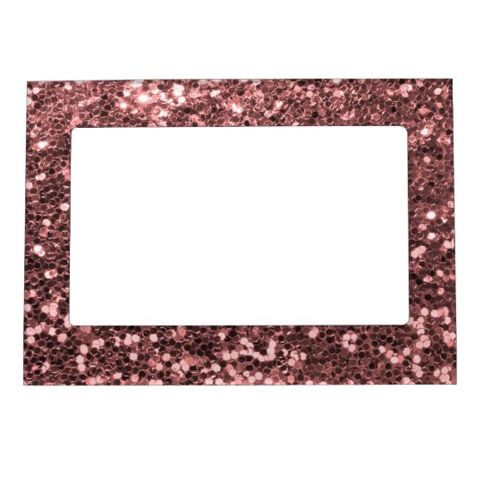 Modern Rose Gold Faux Glitter Pink Print Magnetic