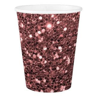 Modern Rose Gold Faux Glitter Pink Print Paper Cup