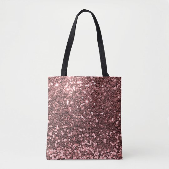 Modern Rose Gold Faux Glitter Pink Print Tote