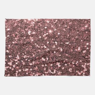 Modern Rose Gold Faux Glitter Print Kitchen Towels