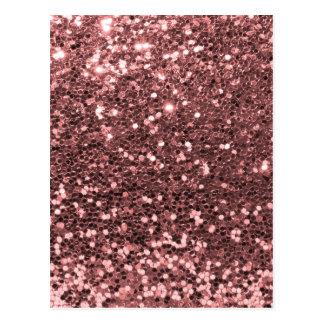 Modern Rose Gold Faux Glitter Print Postcard