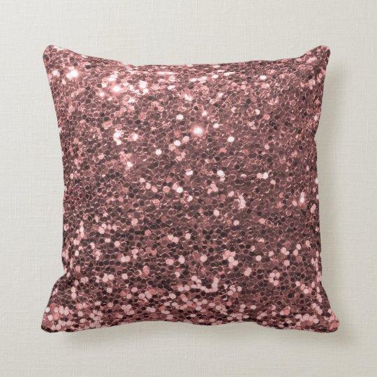 Modern Rose Gold Faux Glitter Shine Print Cushion