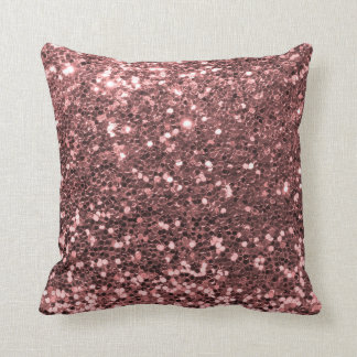 Modern Rose Gold Faux Glitter Shine Print Throw Pillow