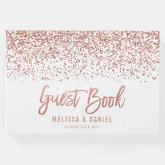 Modern Rose Gold Faux Glitter Wedding Guest Book