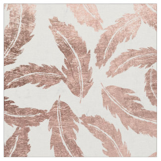 Modern rose gold feathers pattern white marble fabric