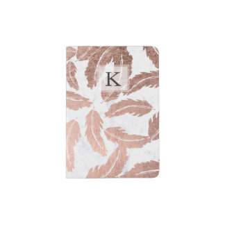 Modern rose gold feathers pattern white marble passport holder