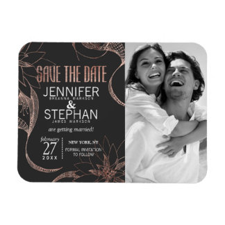 Modern Rose Gold Floral Drawings Save the Dates Rectangular Photo Magnet