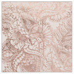 Modern rose gold floral illustration on blush pink fabric
