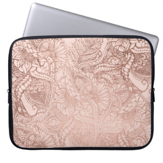 Modern rose gold floral illustration on blush pink laptop computer sleeve