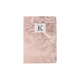 Modern rose gold floral illustration on blush pink passport holder