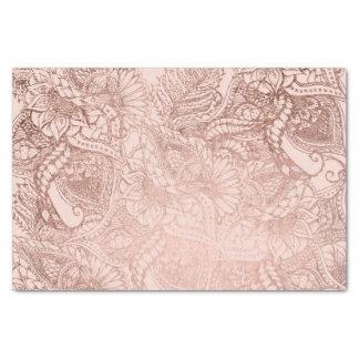 Modern rose gold floral illustration on blush pink tissue paper