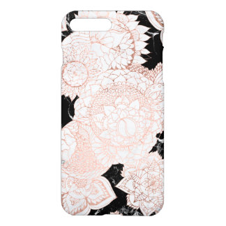 Modern rose gold floral mandala chic marble iPhone 8 plus/7 plus case
