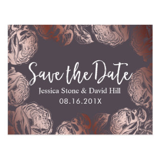 Modern Rose Gold Floral Wedding Save the Date Postcard