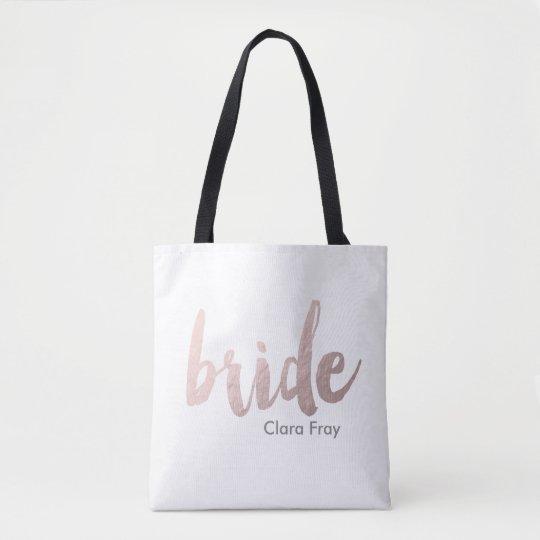 modern rose gold foil bride tote bag