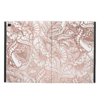 Modern rose gold foil hand drawn floral pattern